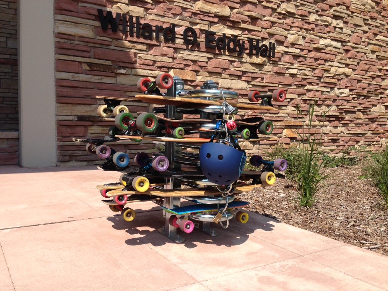 longboard and skateboard racks parking transportation services