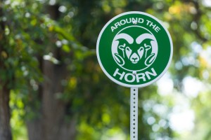 The Around the Horn shuttle lollipop signs on the Colorado State University campus