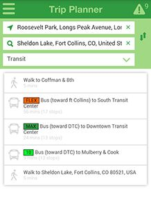 trip planner screen capture