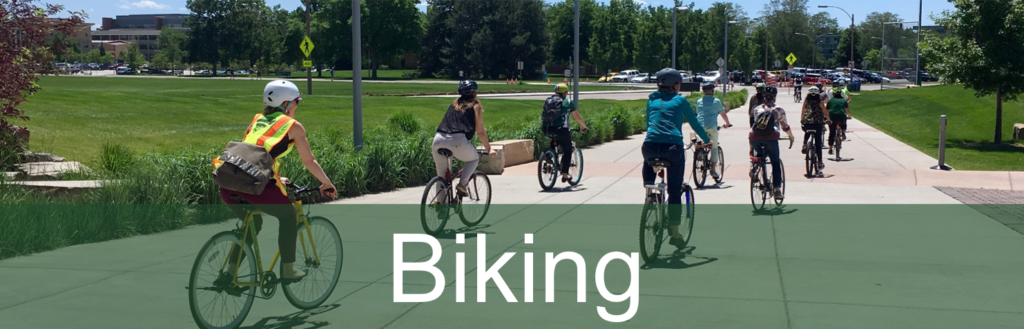 "photo of group of bicyclists with ""Biking"" heading"