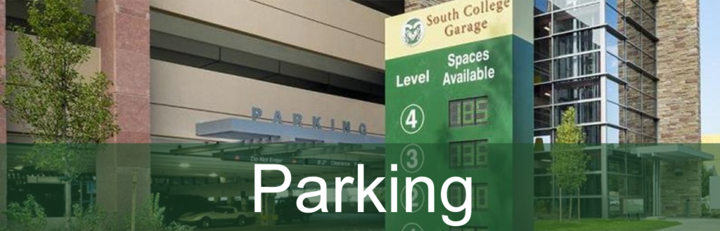 "photo of parking garage entrance with ""Parking"" heading"